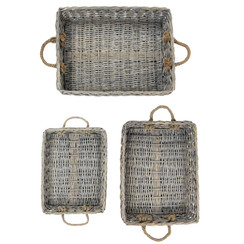 XLarge Rectangle Willow Serving Baskets - Set of 3