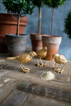 Set of 3 Cast Iron Gold Leaf Birds