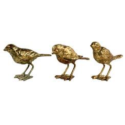 Set of 3 Cast Iron Gold Leaf Birds