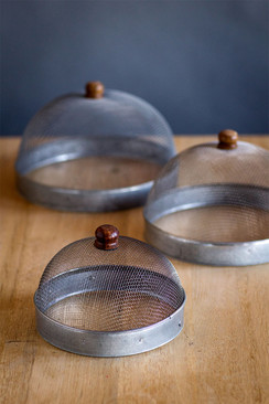 Nesting Metal Wire Covers with Wood Handles