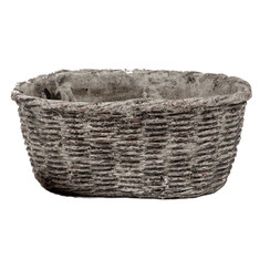 Concrete Oval Container with Basket Motif