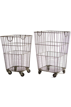 Set of Two Rolling Laundry Baskets