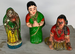 Set of 3 Vintage Terracotta Handmade Statues from India 16