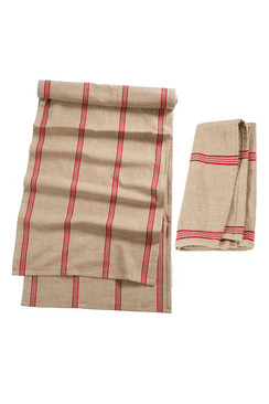 Cotton Red Striped Napkin or Runner