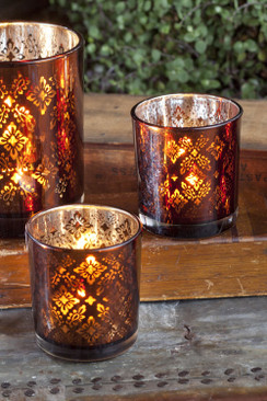 Set of 3 Amber Mercury Votives