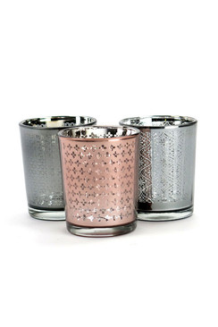 Mercury Glass Votives in Pink and Grey