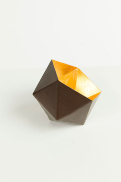 Metallic Geometric Votive with Inner Gold Leafing