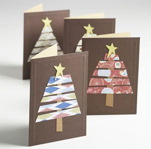 An easy Christmas card craft using leftover wrapping paper