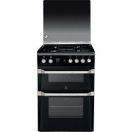 Indesit ID60G2K Double Oven Gas Cooker - Black - GRADED