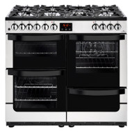 New World Vision 100DFT 100cm Dual Fuel Range Cooker - Stainless Steel