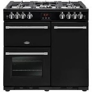 Belling Farmhouse90G 90cm Gas Range Cooker with Electric Fan Oven - Black - GRADED.