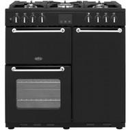 Belling SANDRINGHAM90DFT 90cm Dual Fuel Range Cooker - Black - A/A Rated - GRADED