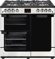 Newworld Vision 90G 90cm Gas Range Cooker with Electric Fan Oven - Stainless Steel - B/A Rated - GRADED