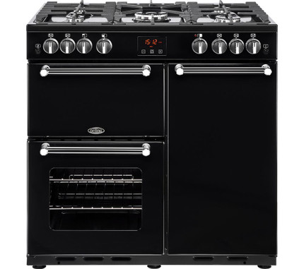 Belling Kensington 90G 90cm Gas Range Cooker - Black & Chrome - A/A Rated - GRADED