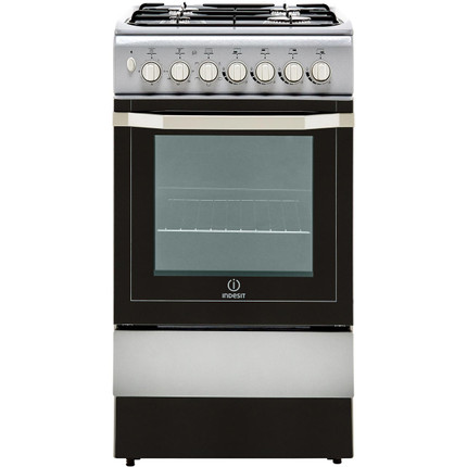 Indesit I5GSH1S 50cm Dual Fuel Cooker - Silver - B Rated - GRADED