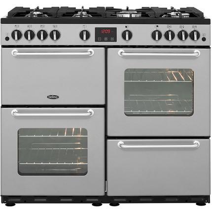 Belling SANDRINGHAM100LPG 100cm LPG Range Cooker - Silver - A/A Rated - GRADED