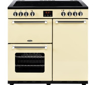 Belling Kensington 90E 90cm Electric Ceramic Range Cooker - Cream & Chrome - A Rated - GRADED