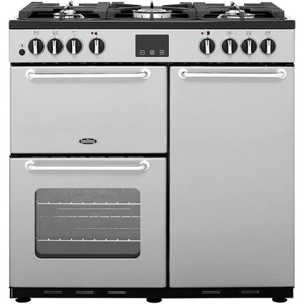 Belling SANDRINGHAM90DFT 90cm Dual Fuel Range Cooker - Silver - A/A Rated - GRADED