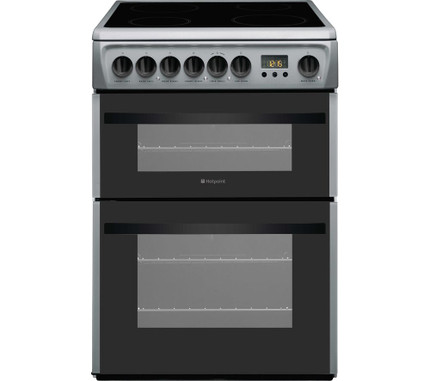 Hotpoint Newstyle DCN60S 60 cm Electric Ceramic Cooker - Silver & Black - GRADED
