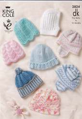 Knitting leaflet King Cole DK baby hats 2824