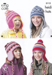 King Cole knitting pattern heidi hats 3112