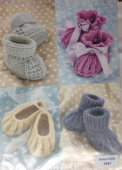 Sirdar Sniuggly 4ply knitting leaflets bootees 1487