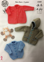 King Cole dk & 4ply baby knitting pattern 3368
