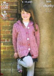 King Cole Girls & Boys chunky knitting pattern 3626