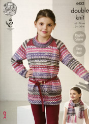 King Cole  Girls double knitting pattern 4452