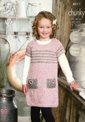 King Cole girls & boys chunky knitting pattern 4511