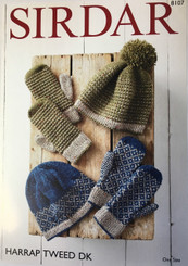 Sirdar DK hat & gloves knitting pattern 8107