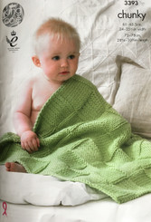 King Cole Chunky baby blanket knitting pattern 3393