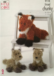 King Cole Tinsel Chunky knitted Fox pattern 9110