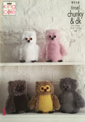 King Cole Tinsel Chunky Owl knitted pattern 9114