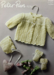 Peter Pan 4ply baby knitting pattern P1068