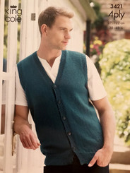 King Cole Mens 4ply knitting pattern 3421