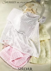 Sirdar Snuggly3-4 and DK  baby blanket knitting pattern 1665