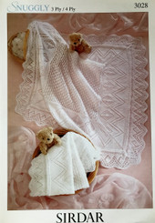 Sirdar Snuggly 3 & 4 ply shawl knitting pattern 3028