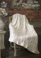 King Cole Aran blanket knitting pattern 3458