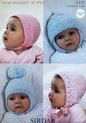 Sirdar Snuggly 4ply baby hats 1371