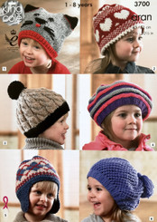 King Cole Aran boys & Girls hats knitting pattern 3700