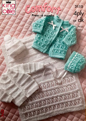 King Cole 4ply & DK babies knitting pattern 3115