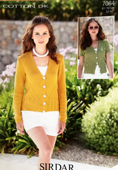 Sirdar Cotton Dk ladies knitting pattern 7084