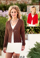 Sirdar Cotton Dk ladies knitting pattern 7085