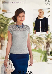 Sirdar ladies Cotton 4ply knitting pattern 7307
