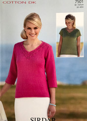 Sirdar ladies Cotton Dk knitting pattern 7501