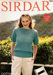 Sirdar ladies cotton 4ply knitting pattern 7908