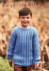 Hayfield Bonus Boys Aran jumper knitting pattern 2506