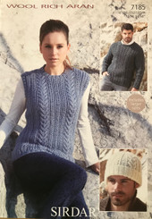 Sirdar Aran mens & ladies Aran knitting pattern 7145