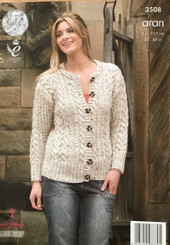 King Cole ladies Aran knitting pattern 3508